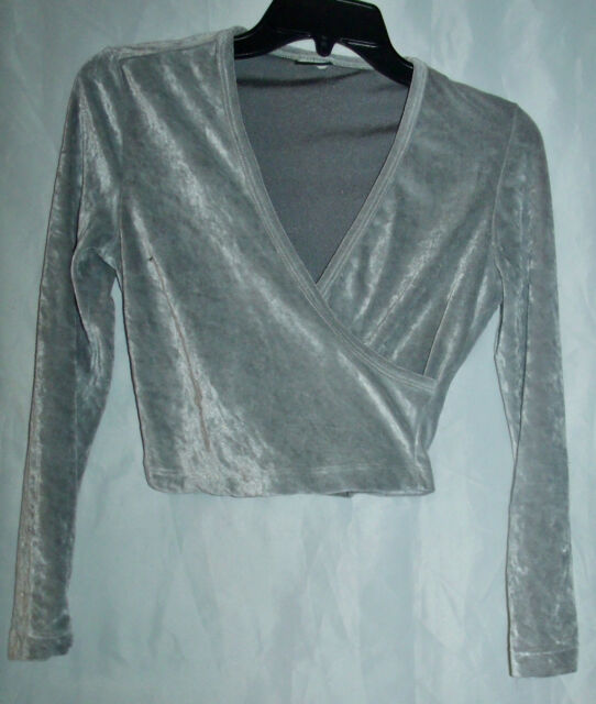 Vtg 90's gray crush velvet shirt sexy low cut short top Sz Small
