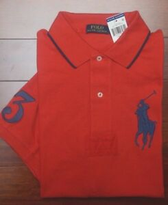 Polo Ralph Lauren Men's Big Pony Target Red Cotton Polo Shirt big & Tall New LT
