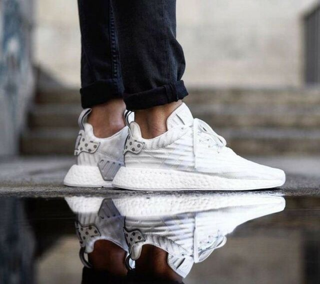 d77c70171 New Adidas NMD R2 BOOST PRIMEKNIT Granite white womens ultra trainers UK 6.5