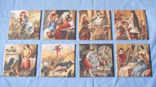 """Ceramic /""""Grimms Fairy Tale/"""" Hand Decorated 2 Piece Picture Tiles"""
