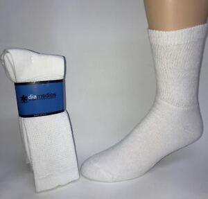 6d9b0c4de6e95 Details about 6 pair Men's Size Large White Diabetic Crew Socks #1 QUALITY * MADE IN USA*