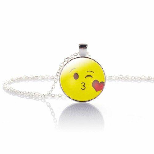Emoji cara sonriente cadena cabochon plata multicolor beso amor divertido detrás de vidrio nuevo varian