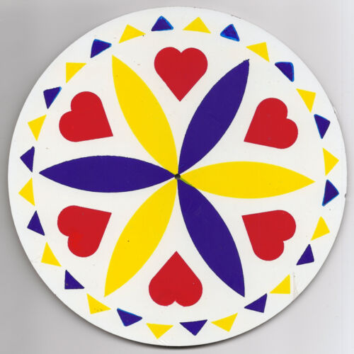 """- Made In The USA Hex Sign H02 16/"""" New Zook/'s PA Dutch Love /& Romance Yellow"""