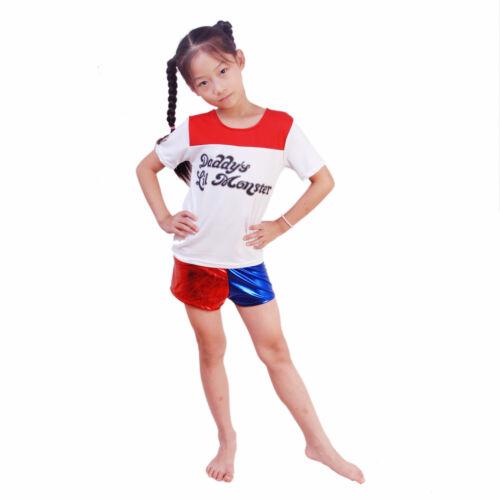 Harley Quinn Halloween 3pcs set Short T-shirt Suicide Squad Costume jacket