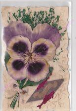 CPA DECOUPIS 1er avril  poissons aluminium rose fleur violette velour herbe