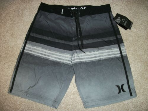 HURLEY New NWT Mens Board Shorts Swim Gray Black 32 33