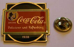 COCA-COLA-DELICIOUS-and-REFRESHING-1938-stamped-Wilson-Coca-1985-vintage-pin