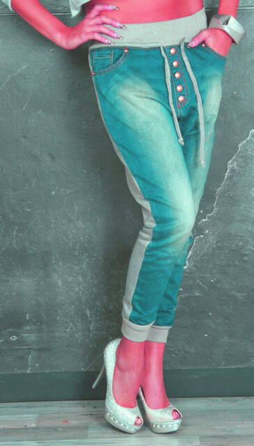 Jeans Sweathose hellblau grau 32 34 36 38 40 Joggingstyle breiter Bund Hose lang