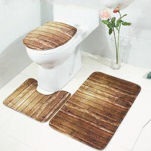 3-Tlg-Set-Badgarnitur-Badematte-Badvorleger-WC-Sitz-Deckel-Toilettendeckel