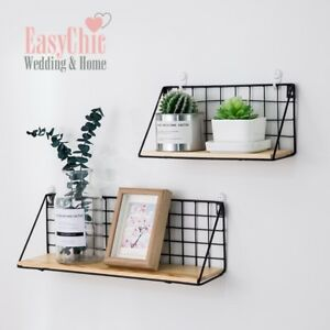 Image Is Loading Metal Wire Wood Wall Shelf Modern Loft