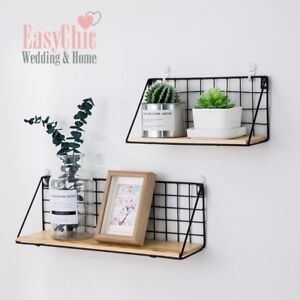 Industrial-Metal-Wire-Wood-Wall-Shelf-Modern-Loft-Dorm-Storage-Shelf-Black-White