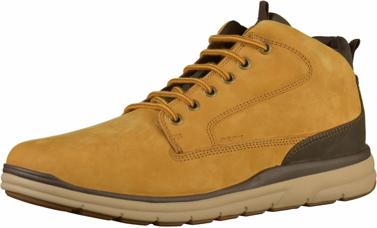 Geox Men Hallson a Chukka Boots Lace up Boots shoes U845UA Yellow Dk Coffee