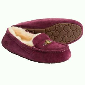 New NIB Ugg Ansley Chunky Swarovski Crystals Moccasin Slippers Suede ... 9d292de9f