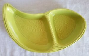 """Vintage 2 Sons Studio City California Pottery Green Relish Dish 8.5"""" x 15"""" Candy"""