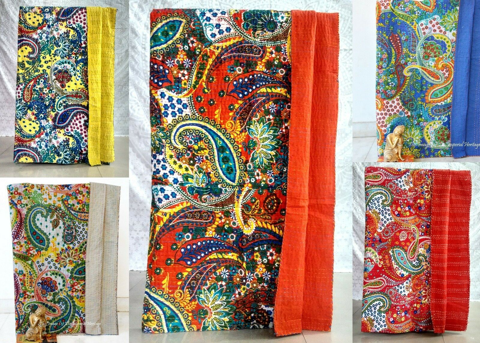 Cotton Paisley Kantha Quilt Throws Indian Mandala Bedspread Twin Bed Cover