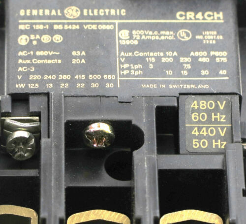 480V 208V 600V 240V 24V CA3-43 GE CR4CH Contactor with AC Coil Voltage 120V
