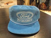 Vintage Ford Tractors Corduroy Strap Back Hat Blue Tractor Motors Cap 90s