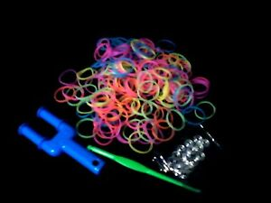 Colourful-Glow-in-the-Dark-Loom-Bands-S-Clips-Hook-Mini-Slingshot-Loom