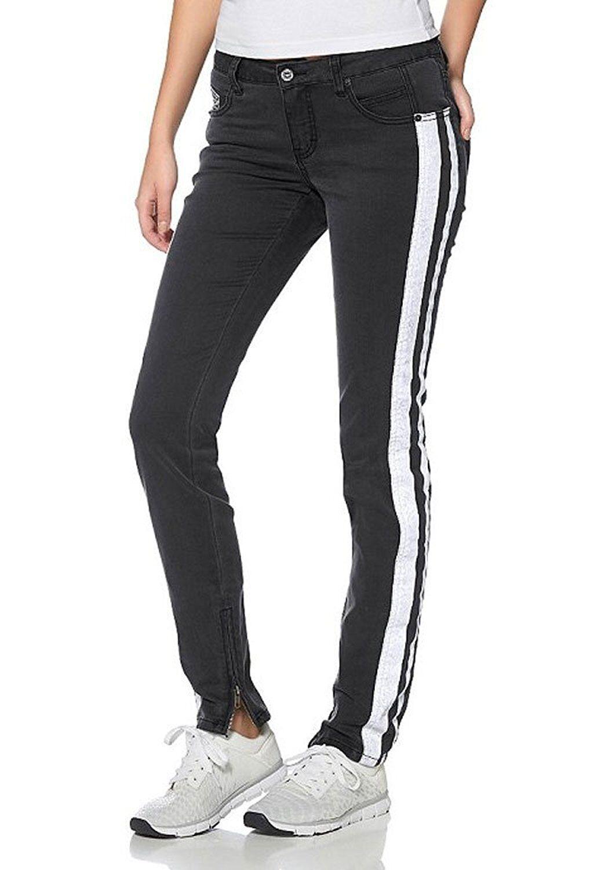 J3060 KangaROOS Damen Jeans Jeanshose mit Streifen (36 Schwarz)