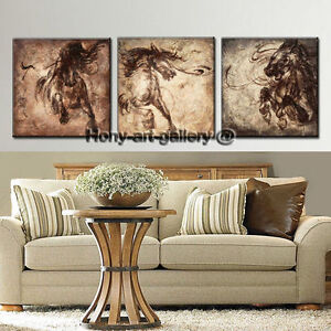 Details About Large 3 Piece Wall Decor Art Horse Animals Painting Contemporary Printed Canvas
