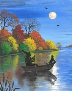 11x14 PRINT OF PAINTING RYTA HALLOWEEN BLACK CAT WITCH HAUNTED LANDSCAPE TREES