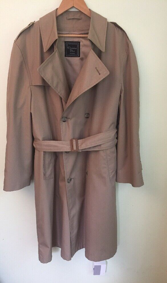 CHRISTIAN DIOR MONSIEUR DOUBLE-BREASTED  Men's Beige TRENCH COAT 44R