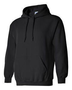 10-Gildan-BLACK-Adult-Hooded-Sweatshirts-Bulk-Lot-Wholesale-Hoodie-S-XL