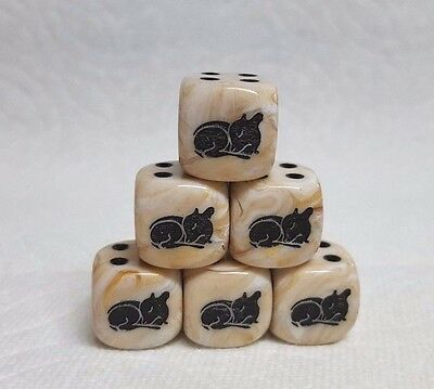 *6* Chx Custom *Westies* on 16mm Opaque Black w//White #1 Terrier /& Pips Dice