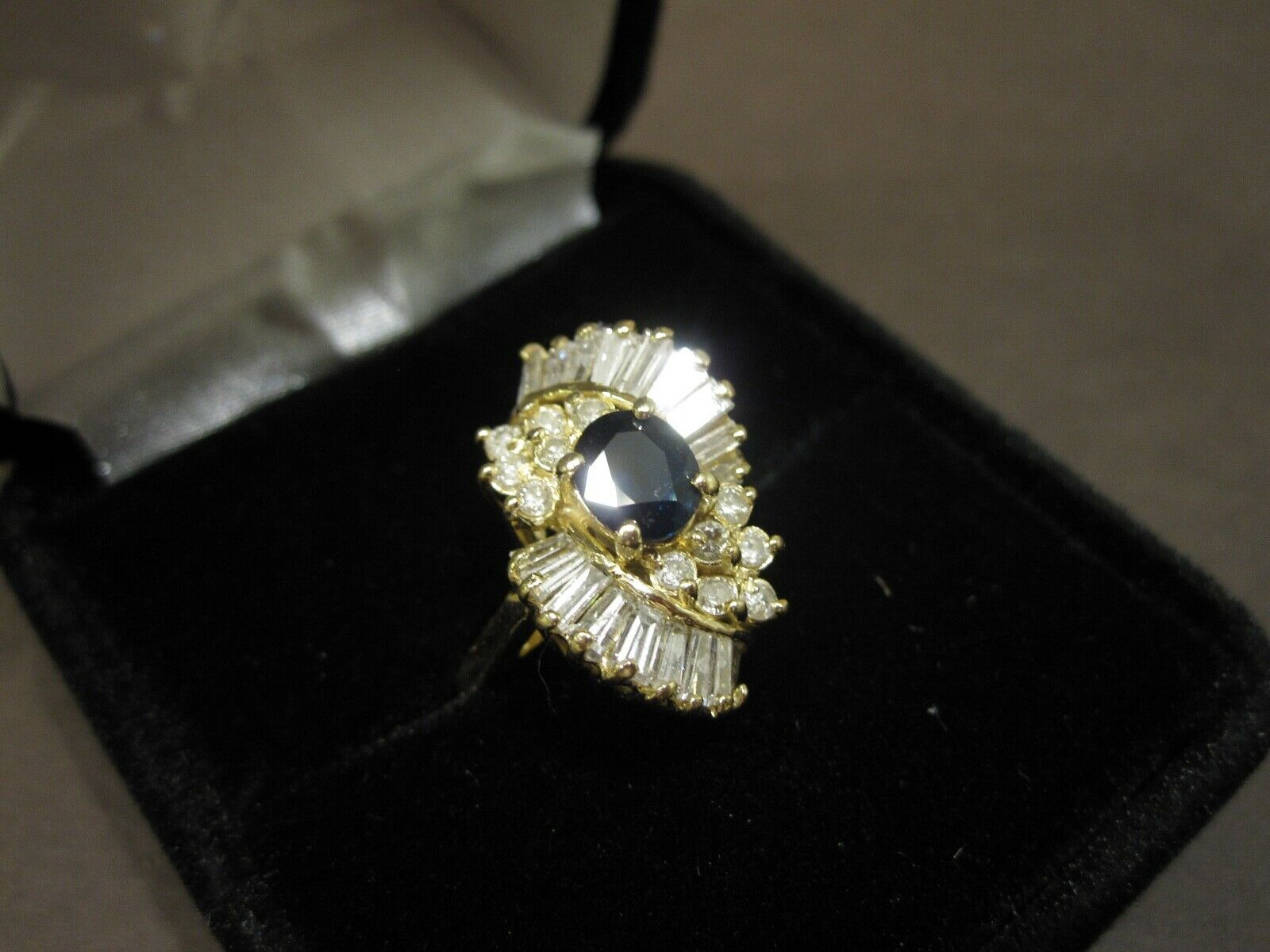 """Natural """"AA"""" Sapphire And Diamond Ring"""