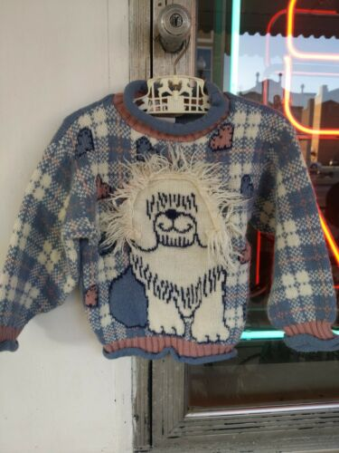 Vtg child 4T 1980's 90 Dog Sweater Cute Adorable h