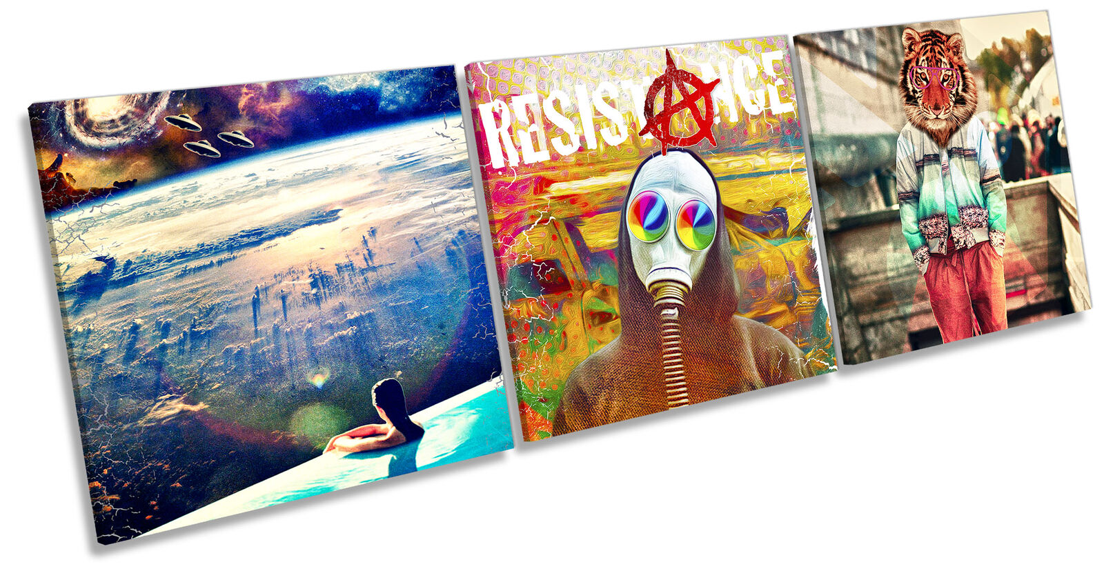 Resistance Outer Space Set of 3 CANVAS Wand Kunst Drucken Treble Multi-Colourot