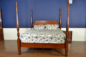 Leighton Hall Mahogany Rice Carved Poster Bed King Size