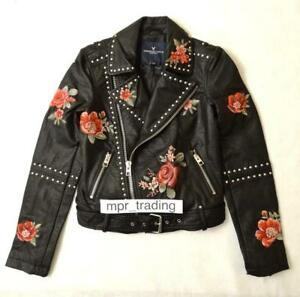 NWT American Eagle Women/'s Embroidered Studded Faux Leather Moto Jacket S NEW