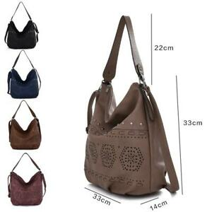 Women-039-s-Designer-Style-PU-Leather-Tote-Shopper-Hand-Bag