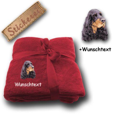 Fleecy Cuddle Blanket Blanket Dog Gordon Setter Custom Text Embroidery,