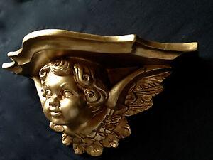 Console-Murale-or-Ancien-Baroque-29x13cm-Depose-Miroir-cp78-Etagere