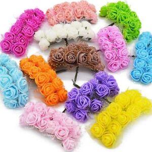 36-72-144-un-Mini-Espuma-Rosas-Flores-Artificiales-Para-Casa-Boda-Decoracion-del-Coche-D