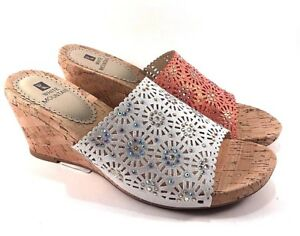 cc48640ab47 Image is loading White-Mountain-Adira-Wedge-Slip-On-Sandals-Choose-