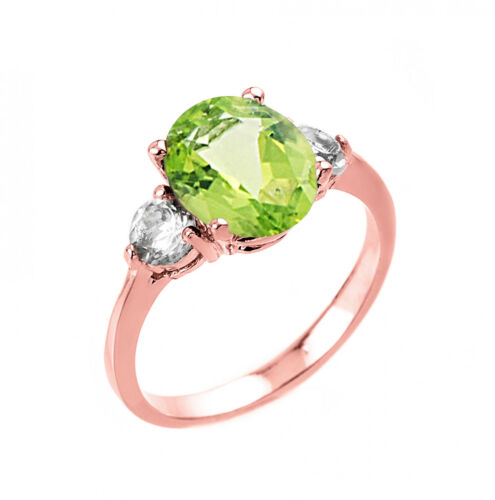 2.0 CTW Oval Peridot Three Stone Engagement Ring in Rose Gold