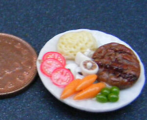 1:12 Scale Steak & Purée De Pommes De Terre Sur Un 2.5 Cm Céramique Plaque Tumdee Maison De Poupées-afficher Le Titre D'origine Diversifié Dans L'Emballage