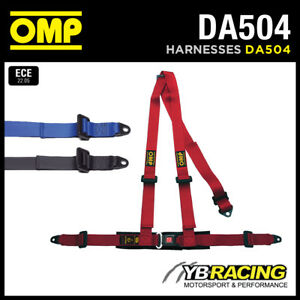 DA504-OMP-039-ROAD-3-039-HARNESS-BELTS-2-034-STRAPS-3-POINT-BOLT-IN-RED-BLACK-BLUE