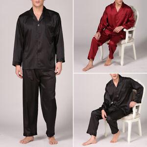 Satin Sexy Peignoir Manches Longues De Pantalons Soie Homme Pyjamas 7Fad7P