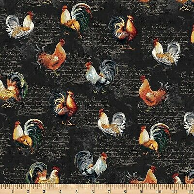 Farm Fabric Chickens and Roosters Timeless Treasures Quilt Shop Quality