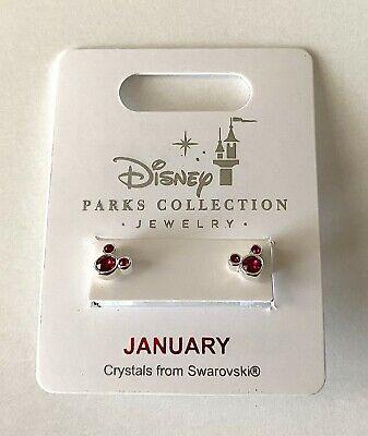 Disney Parks Mickey Mouse Faux Gem January Birthstone Stud Earrings NEW