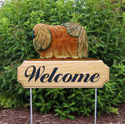 Pekingese Dog Breed Oak Wood Welcome Outdoor Yard Sign Red