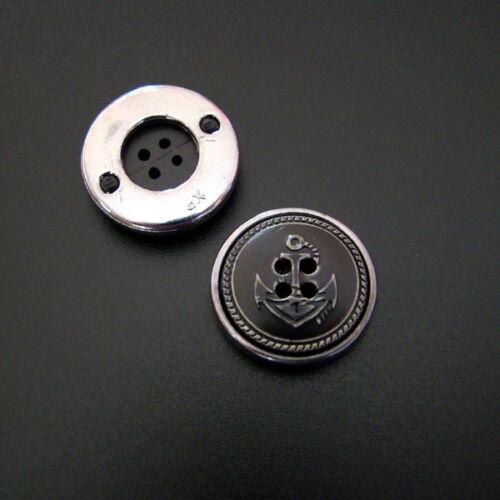 2 BOUTONS ANCRE Maritime Vintage Noir 21 mm Plastique-p00ei0088