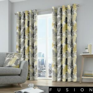 Fusion-TROPICAL-Leaves-Yellow-amp-Grey-Eyelet-Curtains-amp-Cushions