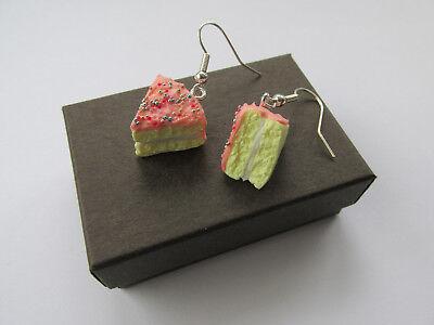 Handmade Unusual Fimo Strawberry Cream Sprinkle Sponge Cake Inspired Earrings