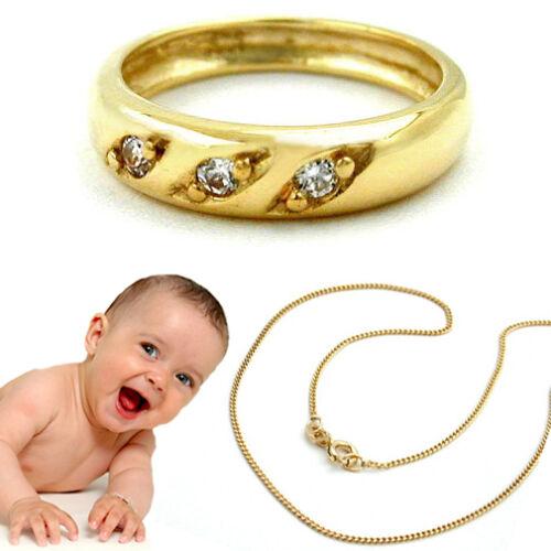 Baby Taufring mit 3 weißen Zirkonia Steinen aus Echt Gold 333 mit Silber Kette