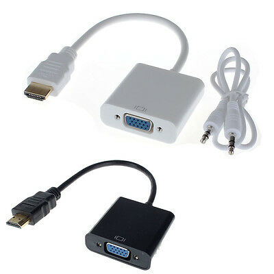 HDMI Male to VGA Converter Adapter With Audio USB Cable 1080P for PC Excellent
